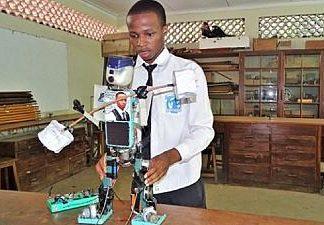 Tanzanian teenager constructs solar powered robot