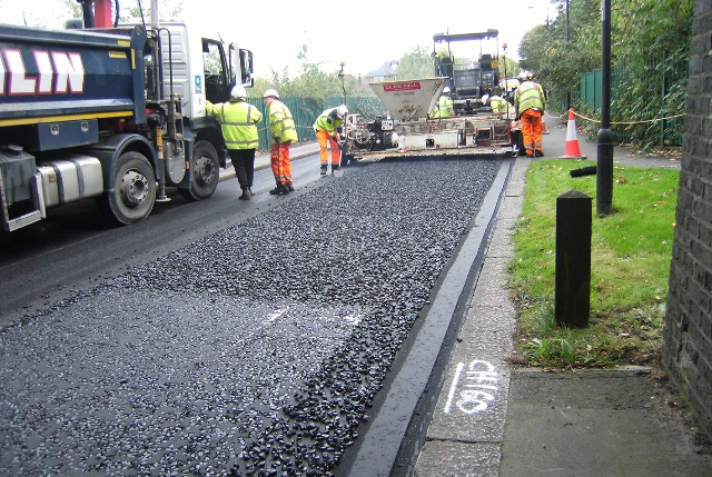 The recycled plastic road surface being laid in Enfield Image: Enfield Council