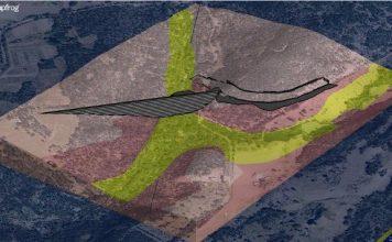 Emu Swamp Dam model with design looking downstream